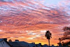 Красивый апельсин и розовый заход солнца Аризоны стоковое фото rf