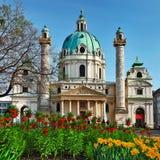 Красивый барочный собор в вене стоковые фото