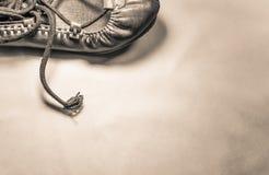 Красивый баскский конец abarka кожаного ботинка танцев вверх на русом взгляд сверху предпосылки Стоковые Изображения RF