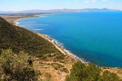 Красивый берег в Corbous, Тунисе Стоковое фото RF