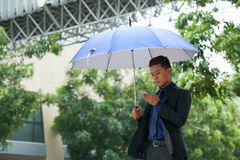Красивый бизнесмен используя Smartphone в дожде Стоковое Фото
