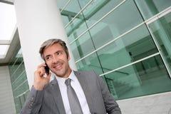 Красивый бизнесмен усмехаясь и говоря на телефоне Стоковые Изображения