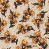Красивый большой зацветая дизайн картины цветков лилии ботанический безшовный для моды, ткани, и всех печатей на ретро оранжевой  иллюстрация штока