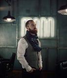 Красивый бородатый битник человека с стильной бородой Стоковое Изображение