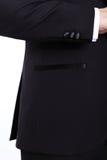Красивый бородатый человек в черном костюме Стоковое фото RF