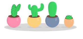 Красивый большой комплект кактуса стиля шаржа вектор Стоковая Фотография