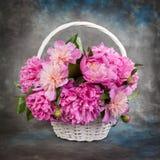 Красивый букет цветков - пионов драматический свет Стоковое Изображение RF