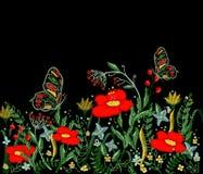 Красивый вектор вышивки цветков Стоковые Фото