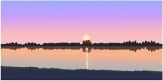 Красивый вектор захода солнца иллюстрация штока