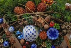 Красивый венок рождества, украшение Нового Года праздничное Стоковые Фотографии RF