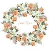 Красивый венок свадьбы акварели с розами и succulent Стоковая Фотография RF