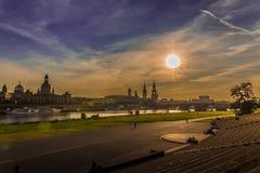 Красивый вечер в Дрездене (Саксонии Германия) Стоковые Фотографии RF