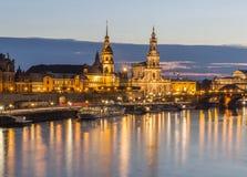 Красивый взгляд вечера Дрездена стоковое фото