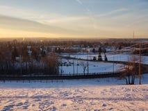Красивый взгляд захода солнца красных оленей Альберты стоковое изображение rf
