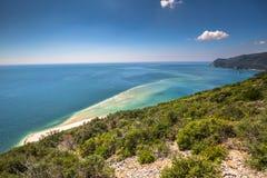 Красивый взгляд ландшафта национального парка Arrabida в Setuba стоковое фото rf