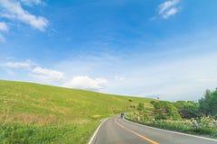 Красивый взгляд ландшафта острословия проселочной дороги и зеленой травы Стоковые Изображения RF