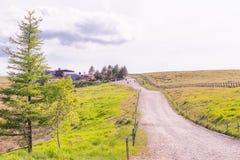 Красивый взгляд ландшафта острословия проселочной дороги и зеленой травы Стоковая Фотография