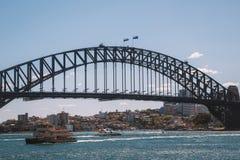 Красивый взгляд моста гавани в Сиднее Стоковое фото RF