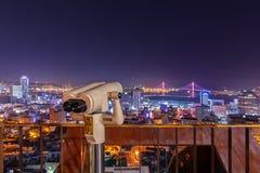 Красивый взгляд ночи на точке зрения 168 лестниц на Пусане, Южной Корее стоковая фотография
