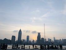 Красивый взгляд сумрака в Шанхае стоковая фотография rf