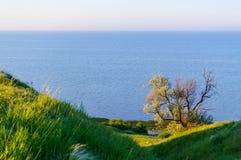 Красивый взгляд ландшафта с побережьем и предпосылкой моря, Стоковое фото RF