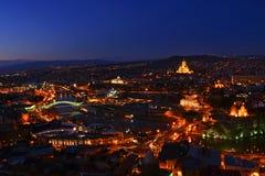 Красивый взгляд ночи в старом центре Тбилиси, Georgia Стоковое фото RF