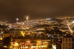 Красивый взгляд ночи столицы Мадейры Фуншала, Португалии Стоковая Фотография RF