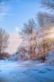 Красивый взгляд природы зимы; ландшафт зимы на налет инее Стоковое Изображение