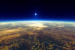 Красивый взгляд планеты от космоса Стоковые Изображения RF