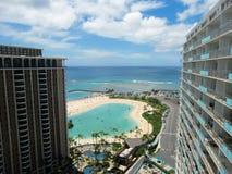 Красивый взгляд пляжа от здания Стоковое Изображение RF