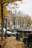 Красивый вид города Амстердама, Нидерландов Стоковое Изображение