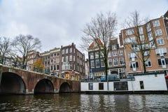 Красивый вид города Амстердама, Нидерландов Стоковые Изображения