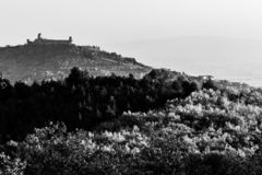 Красивый вид городка Умбрии Assisi в осени от необыкновенного места, за холмом с деревьями стоковые изображения