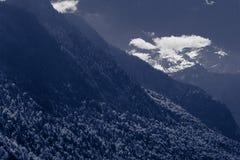 Красивый вид гор с озером и лугом стоковые изображения