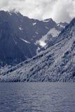 Красивый вид гор с озером и лугом стоковые изображения rf