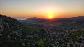 Красивый вид захода солнца стоковое изображение rf