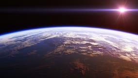 Красивый вид земли планеты от космоса Реалистическая анимация 3d Закрепленное петлей безшовное иллюстрация вектора