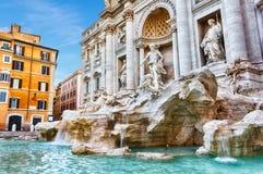 Красивый вид на фонтане в Риме, отсутствие людей Trevi стоковое фото rf