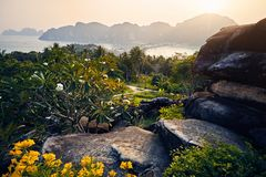 Красивый вид острова Phi Phi Koh стоковая фотография rf