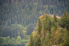 Красивый вид от верхней части горы на hikers на утесе Стоковая Фотография