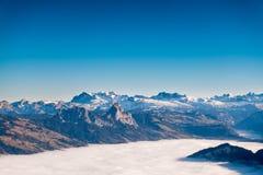 Красивый вид от верхней части горы Rigi Kulm в Швейцарии Стоковые Фото