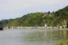 Красивый вид Рейна на реке lorelei стоковые фотографии rf