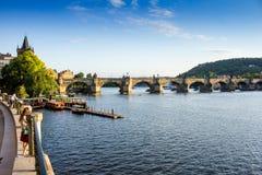 Красивый вид реки Влтавы Стоковые Изображения