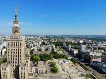 Красивый вид сверху Больший взгляд на дворце культуры и науки, Варшавы Столица Польши, Европы стоковые фотографии rf