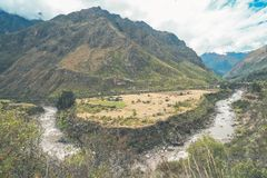 Красивый вид следа Inca Красивый пейзаж вдоль следа Inca стоковое фото