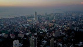 Красивый вид с воздуха городского пейзажа ландшафта Penang Малайзии стоковое фото rf