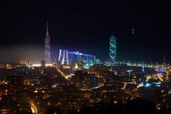 Красивый вид с воздуха городского городского пейзажа на ноче Batumi, Georgia Стоковая Фотография RF