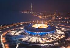 Красивый вид с воздуха от взгляда глаза ` s птицы Gulf of Finland, Санкт-Петербурга, России, с стадионом, западные быстрые di Стоковая Фотография