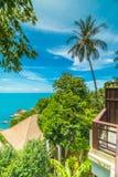 Красивый вид с воздуха пляжа и моря с пальмой кокоса внутри Стоковое Фото