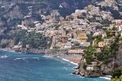 Красивый вид с воздуха Positano, цена Амальфи, кампания, Италия стоковое изображение rf